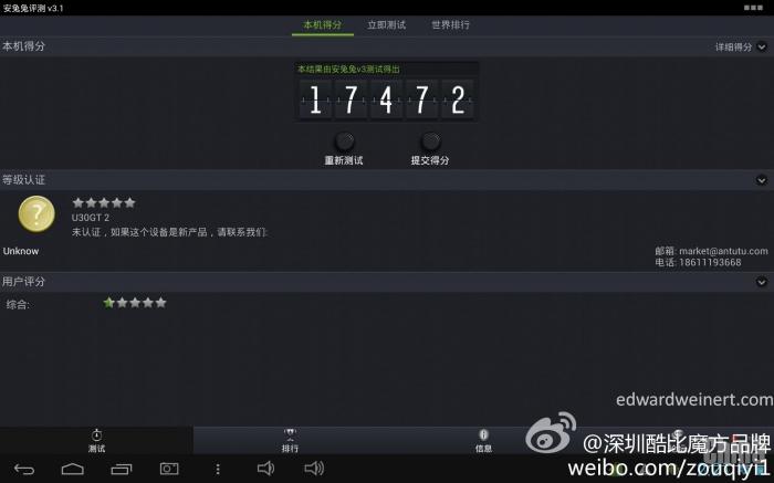 Cube U30GT2 на базе 4-ядерного процессора RK3188 набрал 17472 баллов в AnTuTu 3.1