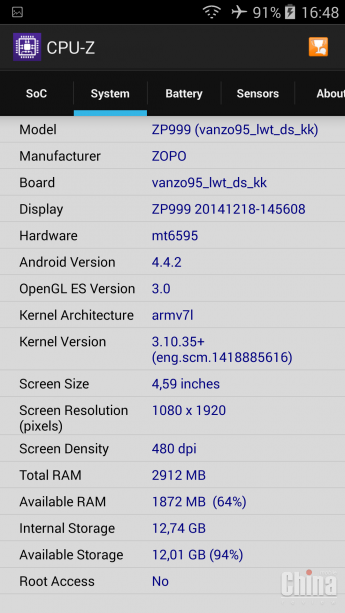 ZOPO 3X мощный конкурент MEIZU MX4
