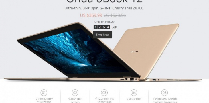 Onda oBook 12 - клон MacBook Air с вращающимся экраном на 360 градусов