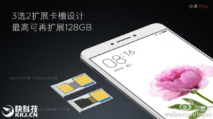 У Xiaomi Max будет комбинированный слот на две SIM и microSD