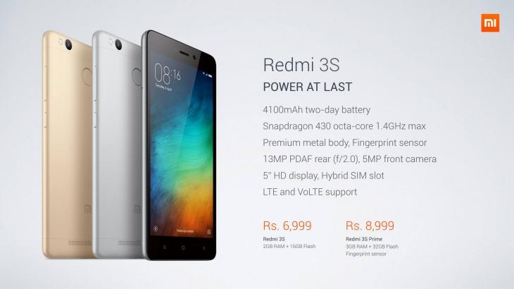 Xiaomi Redmi 3S официально представлен в Индии