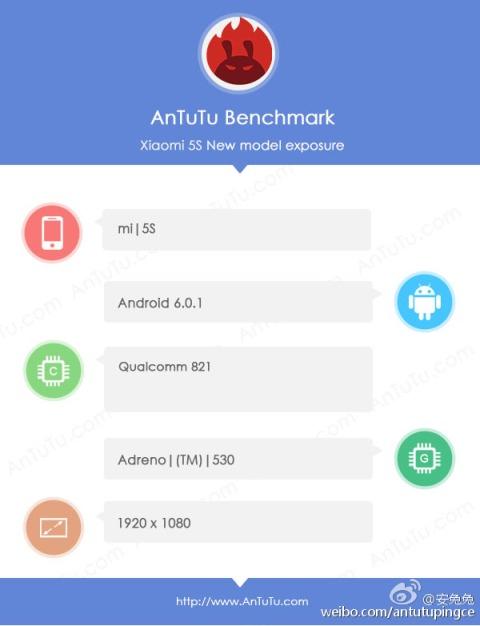 Xiaomi Mi 5S замечен в AnTuTu. Будет Snapdragon 821