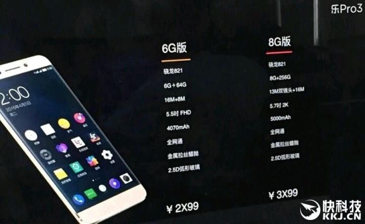 LeEco Le Pro 3 выйдет в двух версиях
