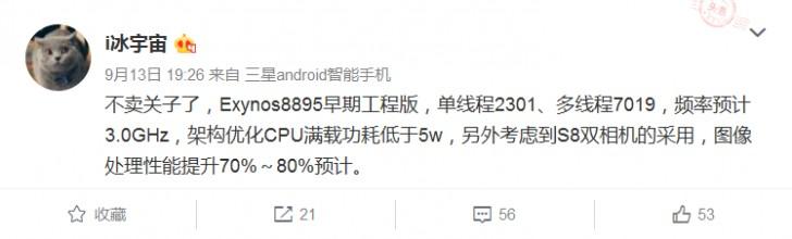 Частота процессора Samsung Exynos 8895 достигнет 3 ГГц