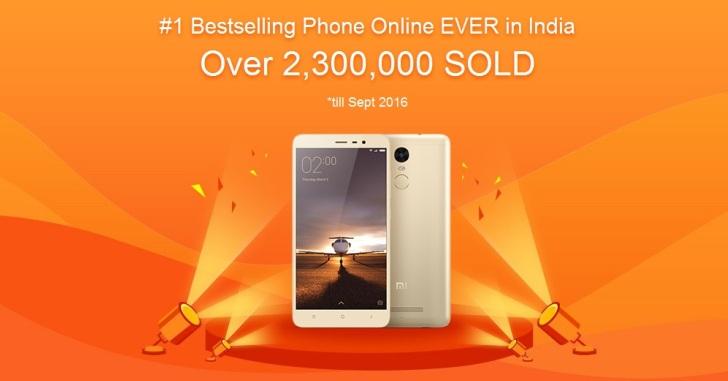 В Индии продано более 2,3 млн Xiaomi Redmi Note 3