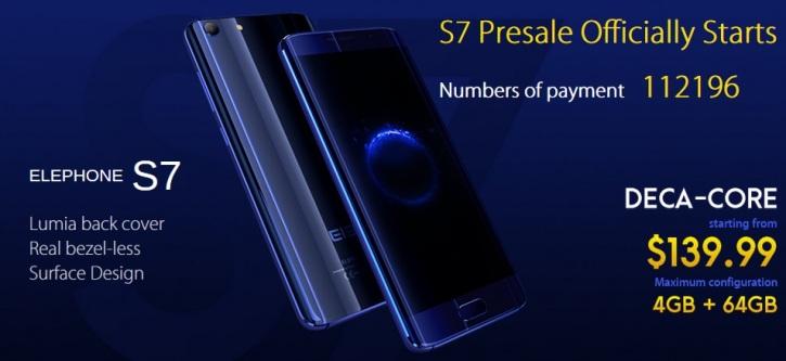 Предзаказано более 110 тысяч смартфонов Elephone S7