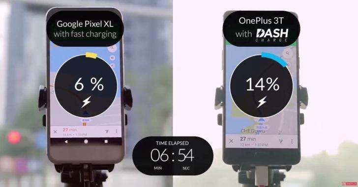 OnePlus сравнила Dash Charge с быстрой зарядкой смартфона Google Pixel XL