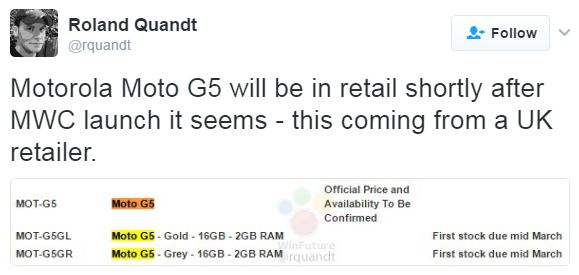 Motorola Moto G5 может появиться в продаже в марте