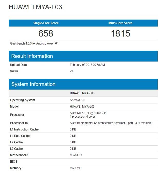 Новый смартфон Huawei замечен в Geekbench