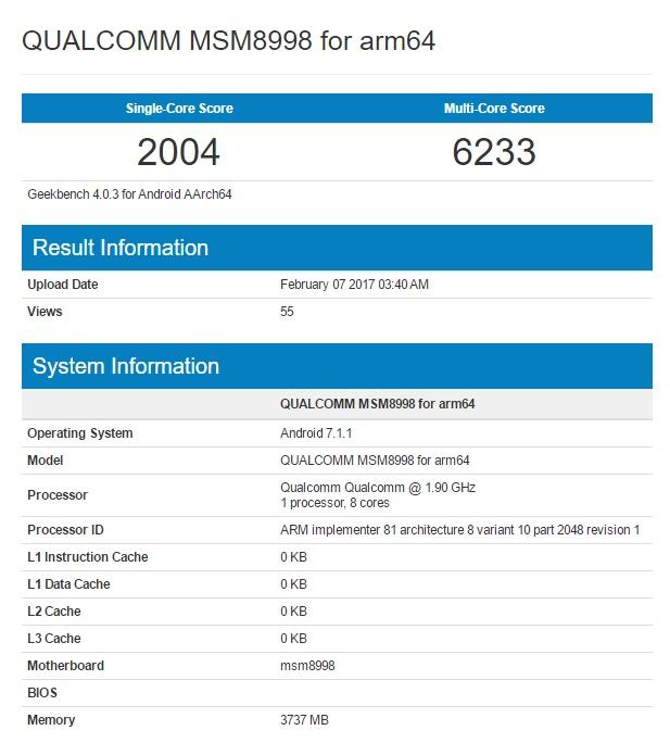 Snapdragon 835 еще раз проверен в Geekbench