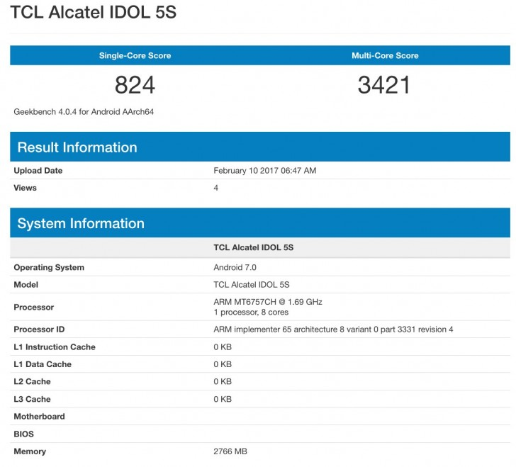 TCL Alcatel Idol 5S получит Helio P20 и 3 ГБ RAM