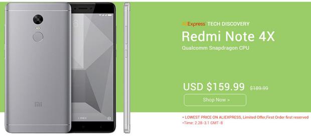 Цена дня: Xiaomi Redmi Note 4X - 160$, Lenovo ZUK Edge - 370$, Meizu M5 - 96$