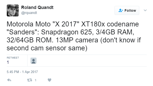 Motorola Moto X 2017 показан на рендере, есть сведения о начинке