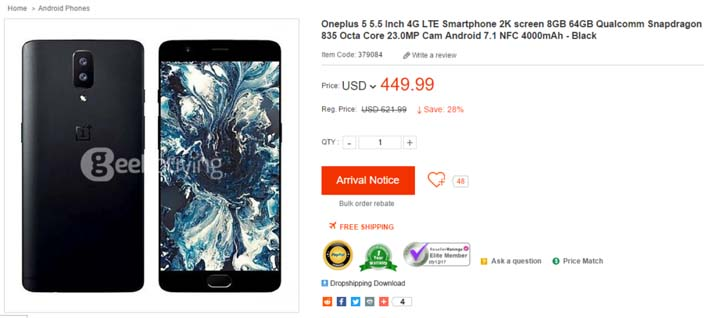 OnePlus 5 появился на интернет-площадках Geekbuying и GearBest