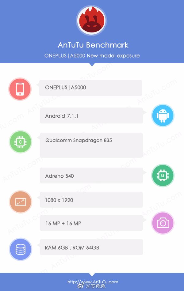 Флагман OnePlus 5 - результаты в AnTuTu и спецификации