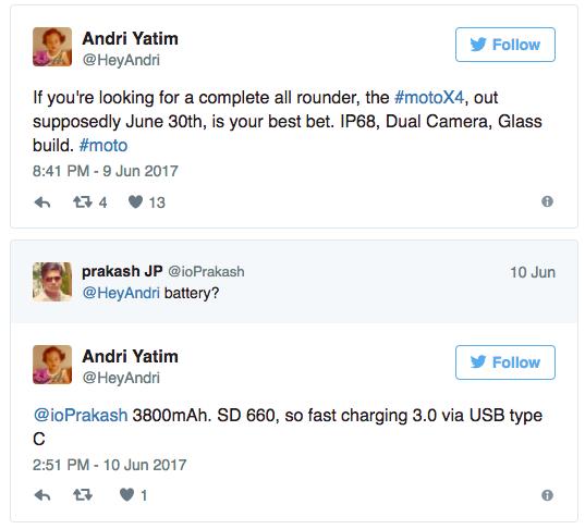 Смартфон Moto X4 с двойной камерой дебютирует 30 июня