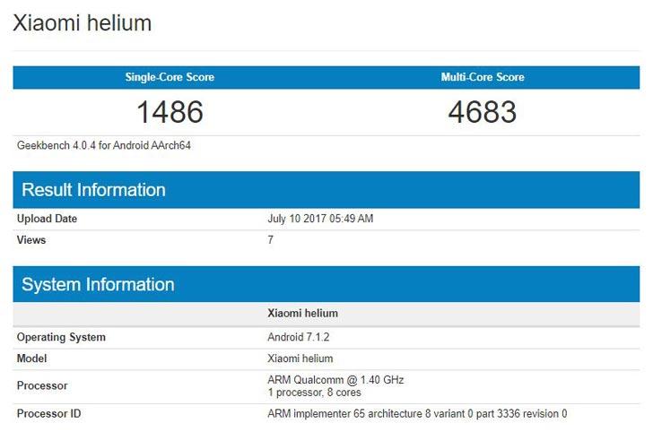 Загадочный смартфон Xiaomi helium засветился в Geekbench