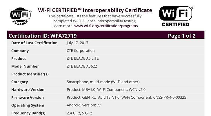 ZTE Blade A6 Lite прошел сертификацию WiFi Alliance
