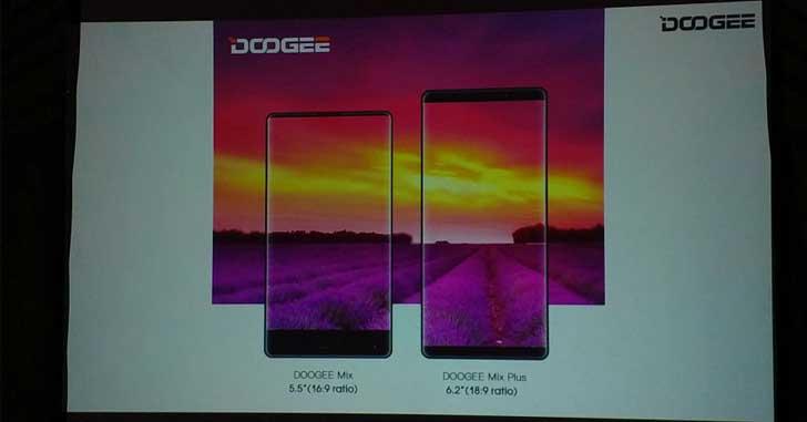 Безрамочный Doogee Mix Plus будет оснащен 6,2-дюймовым дисплеем