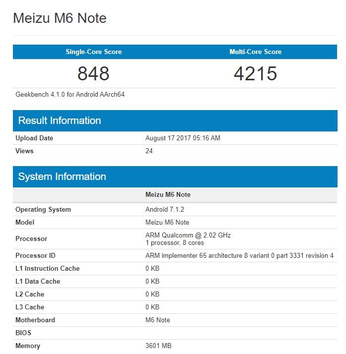 Meizu M6 Note замечен в Geekbench
