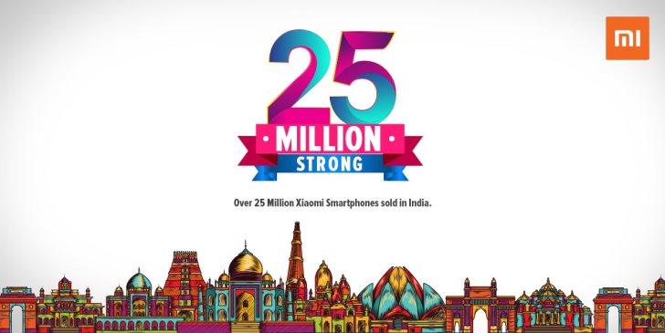 Xiaomi продала 25 млн смартфонов в Индии