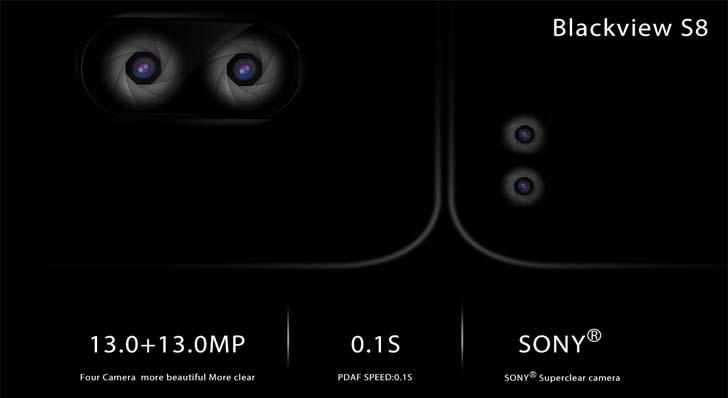 Безрамочный смартфон Blackview S8 получит две двойные камеры
