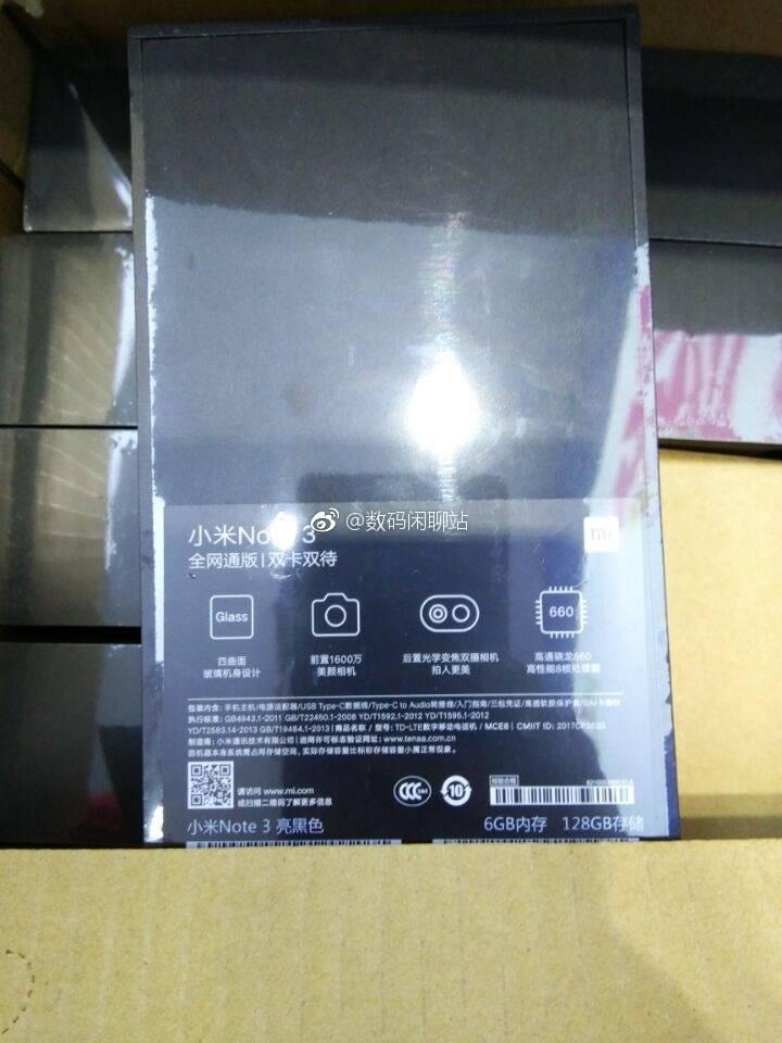 Фотографии коробки подтверждают характеристики Xiaomi Mi Note 3