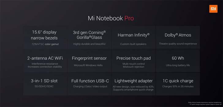Представлен 15,6-дюймовый ноутбук Xiaomi Mi Notebook Pro