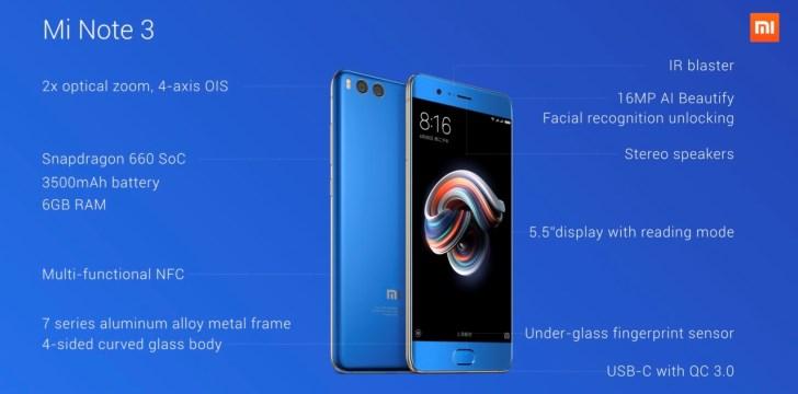 Раскрыты полные сведения о Xiaomi Mi Note 3
