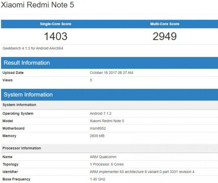 Бенчмарк приписывает смартфону Xiaomi Redmi Note 5 устаревший чип