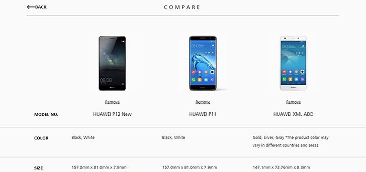 Huawei P11 и P12 появились на сайте производителя
