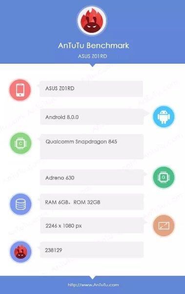 Asus Zenfone 5 на базе Snapdragon 845 протестирован в AnTuTu
