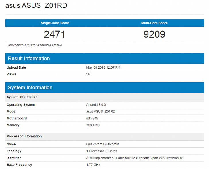 Asus Zenfone 5z протестировали в бенчмарке GeekBench