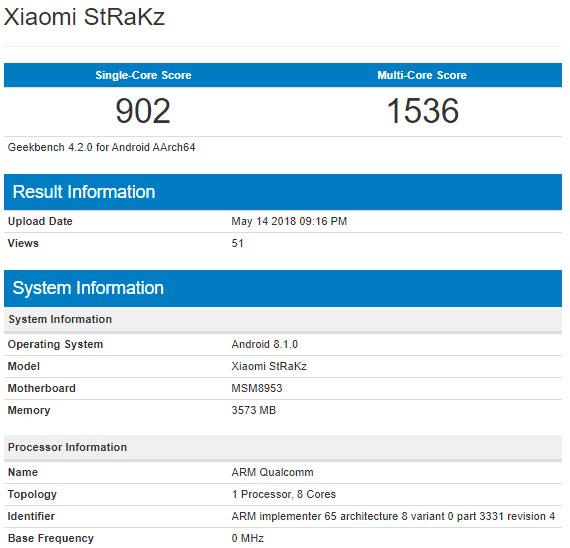 В Geekbench засветился неизвестный смартфон Xiaomi StRaKz