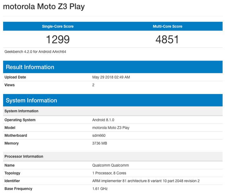 Moto Z3 Play на Snapdragon 660 появился в бенчмарке GeekBench