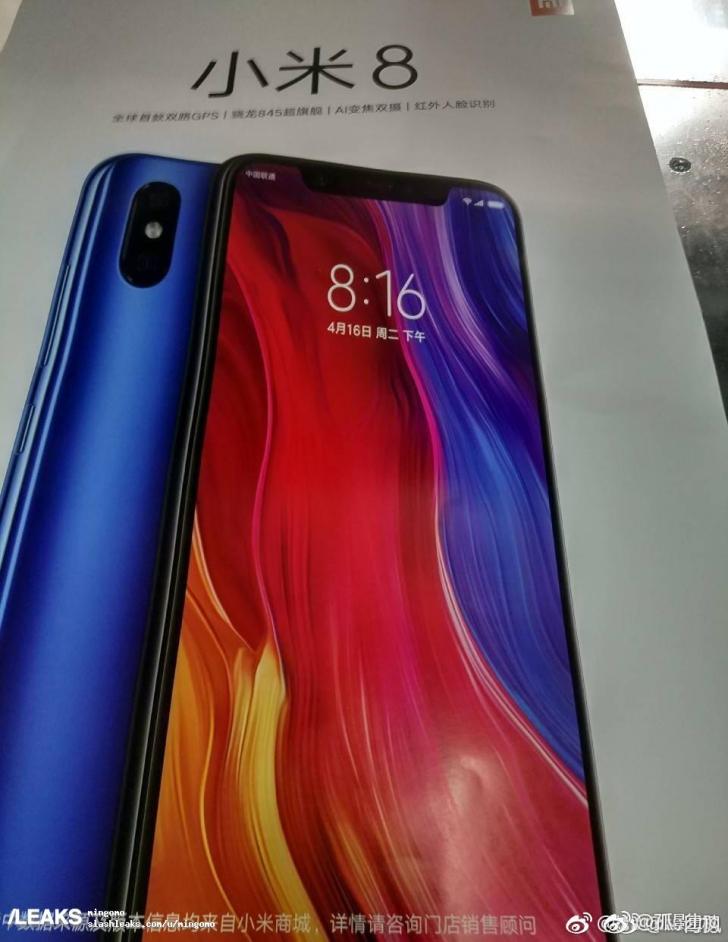 Рендер синего Xiaomi Mi8 и основные особенности напостере