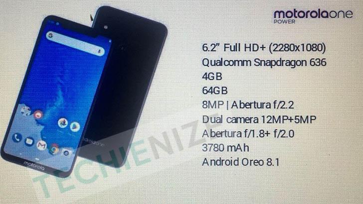 Раскрыты основные спецификации Motorola One Power