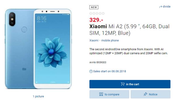Xiaomi Mi A2 засветился в швейцарском онлайн-магазине
