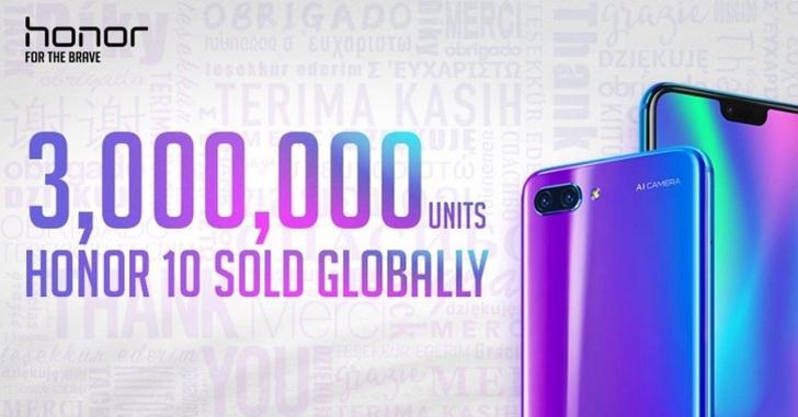 Продано более 3 млн экземпляров смартфона Honor 10