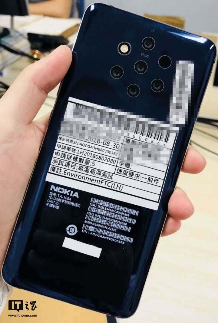 Nokia 9 с пятью камерами показали на