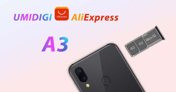 Смартфон Umidigi A3 сможет работать с тремя SIM-картами