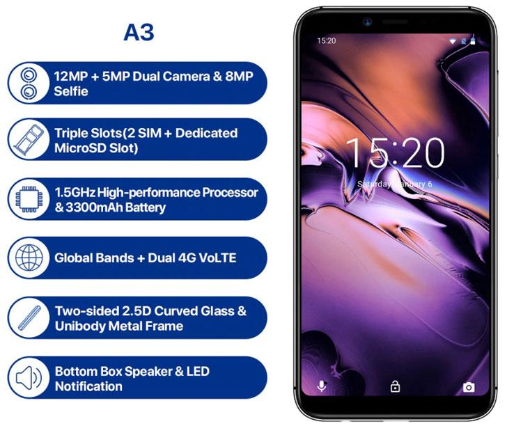 Анонсирован смартфон Umidigi A3 на MediaTek MT6739