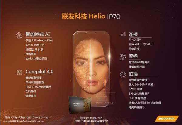 Компания MediaTek представила новый чип Helio P70