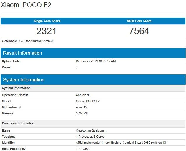 В Xiaomi Pocophone F2 будет установлен не Snapdragon 855