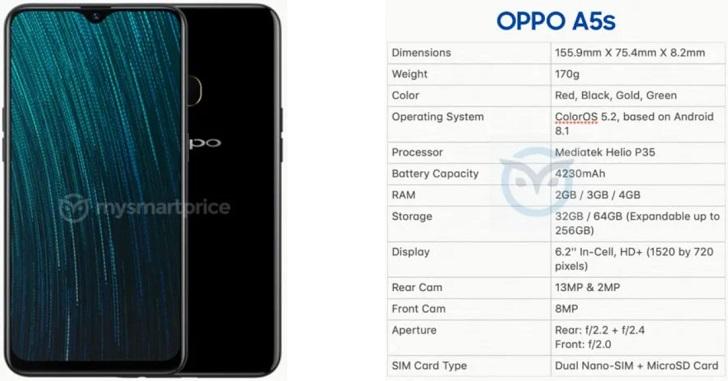 В сеть слили характеристики Oppo A5s