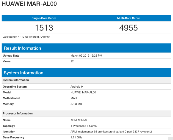 Производительность Huawei Nova 4e оценили в Geekbench