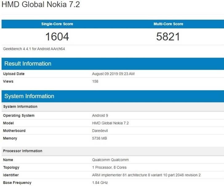 Смартфон Nokia 7.2 засветился в бенчмарке Geekbench