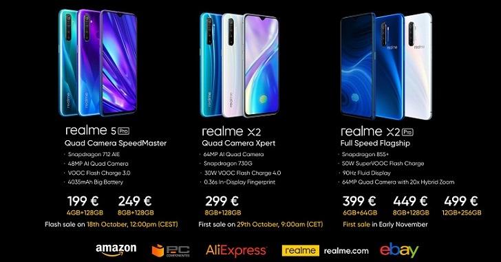 Realme X2, Realme X2 Pro и Realme 5 Pro готовы покорять Европу