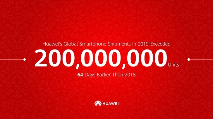 Huawei уже продала 200 000 000 смартфонов в 2019 году