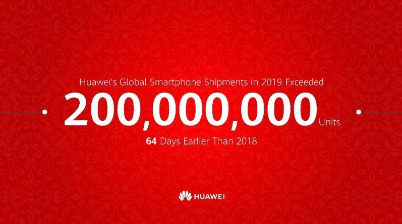 Huawei отгрузила 200 млн смартфонов за 2019 год в рекордно короткие сроки